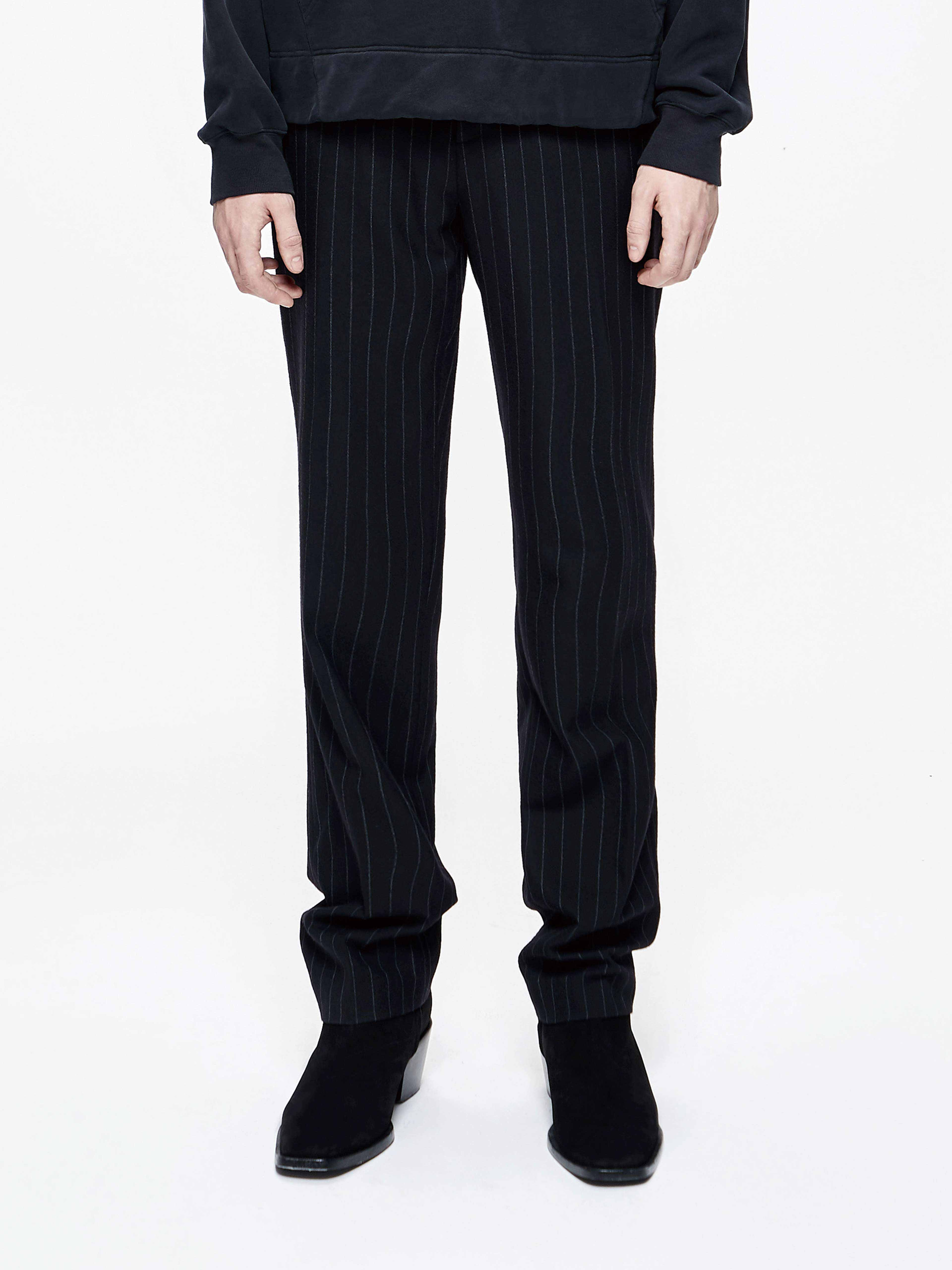 条纹宽直腿西裤