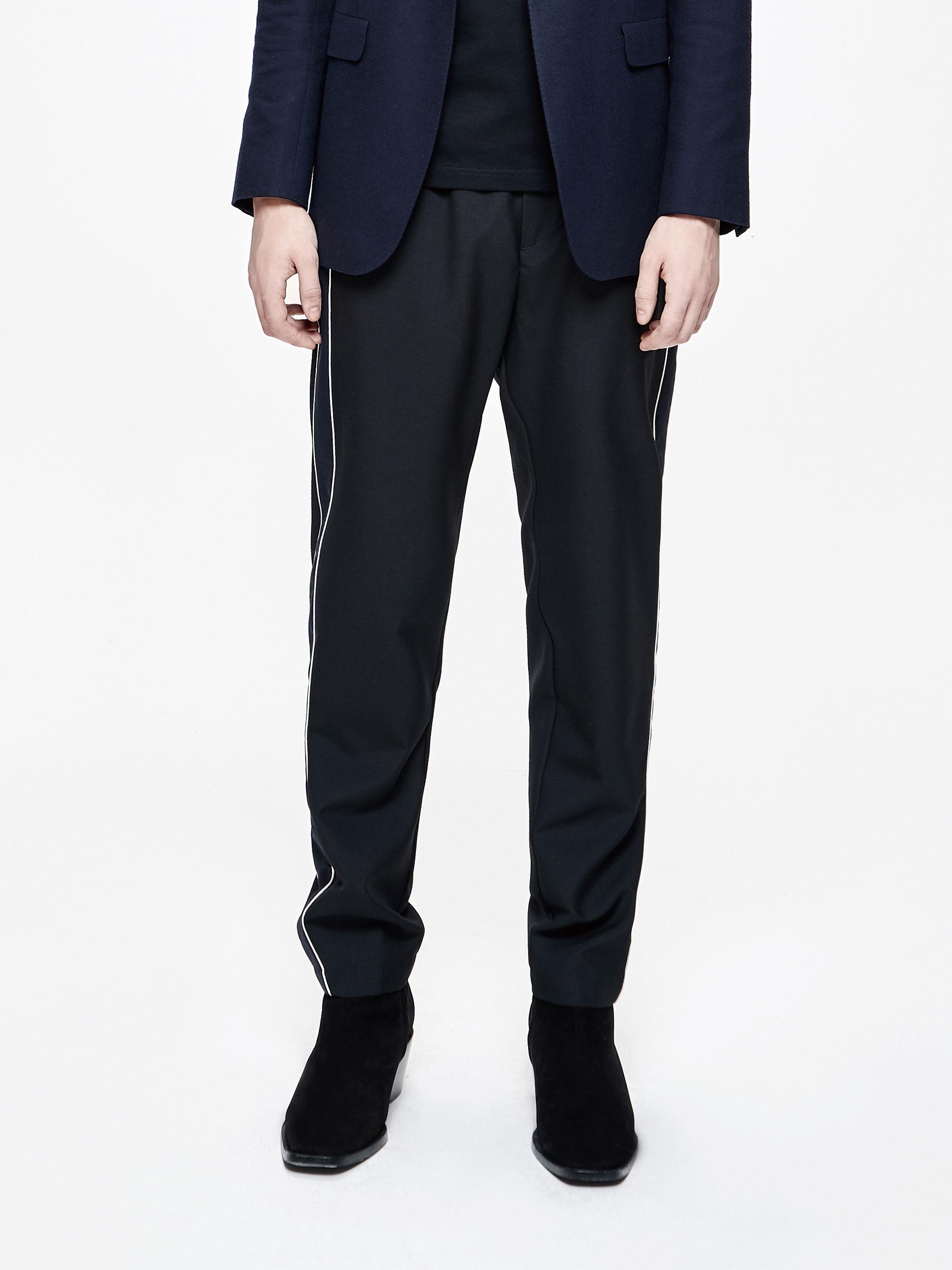 侧边拼料直筒长裤