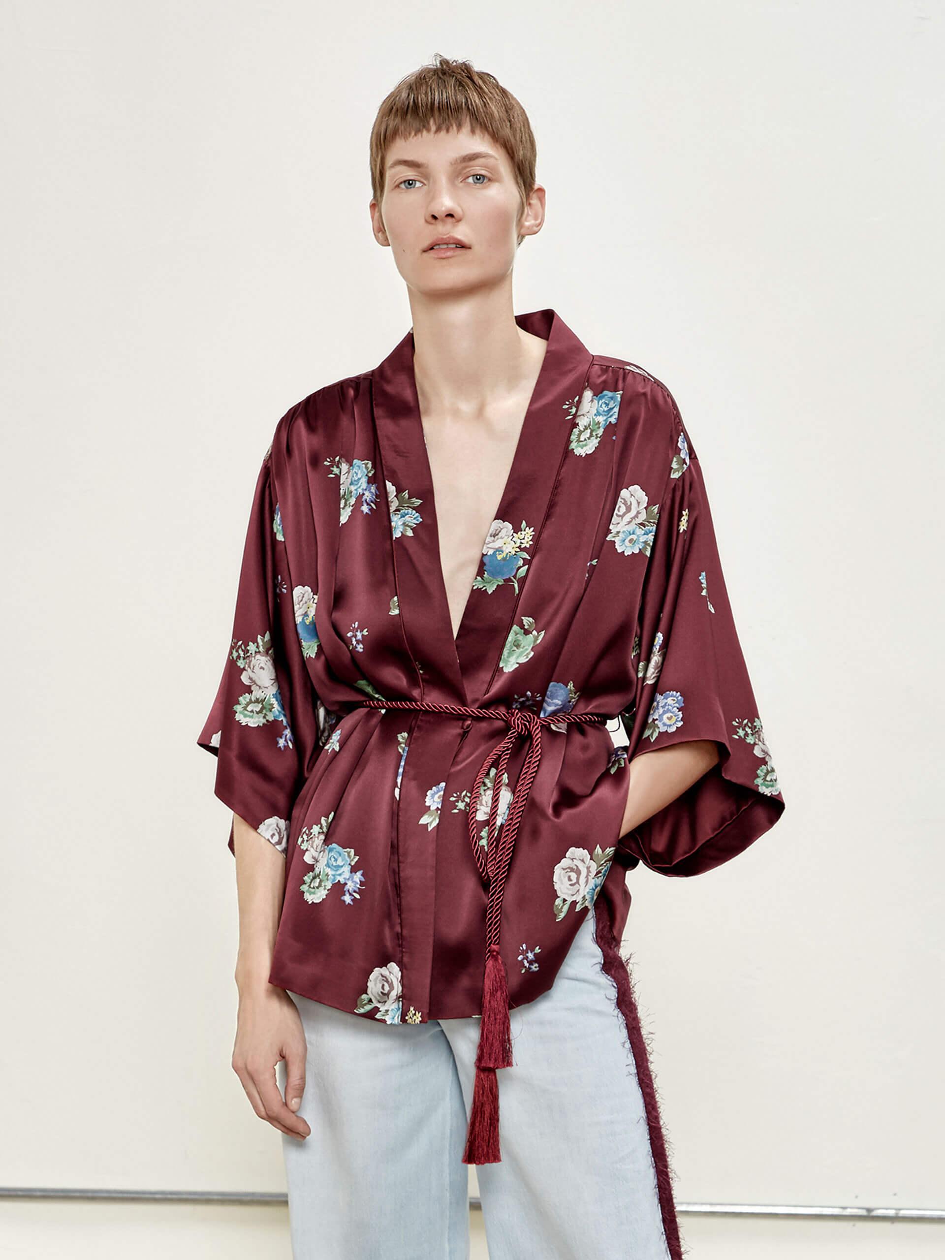 复古花卉真丝和服式外套