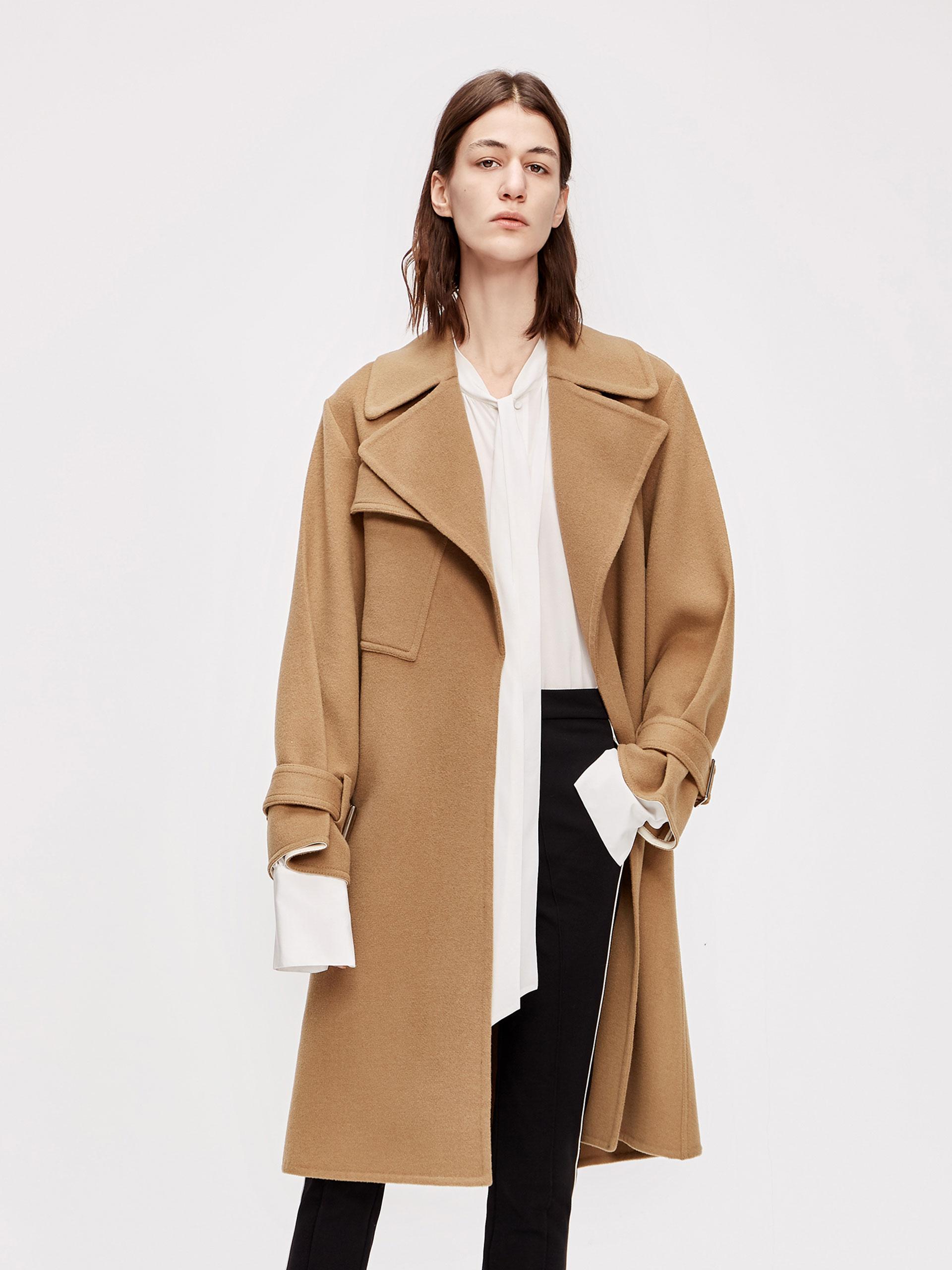 风衣式毛呢大衣
