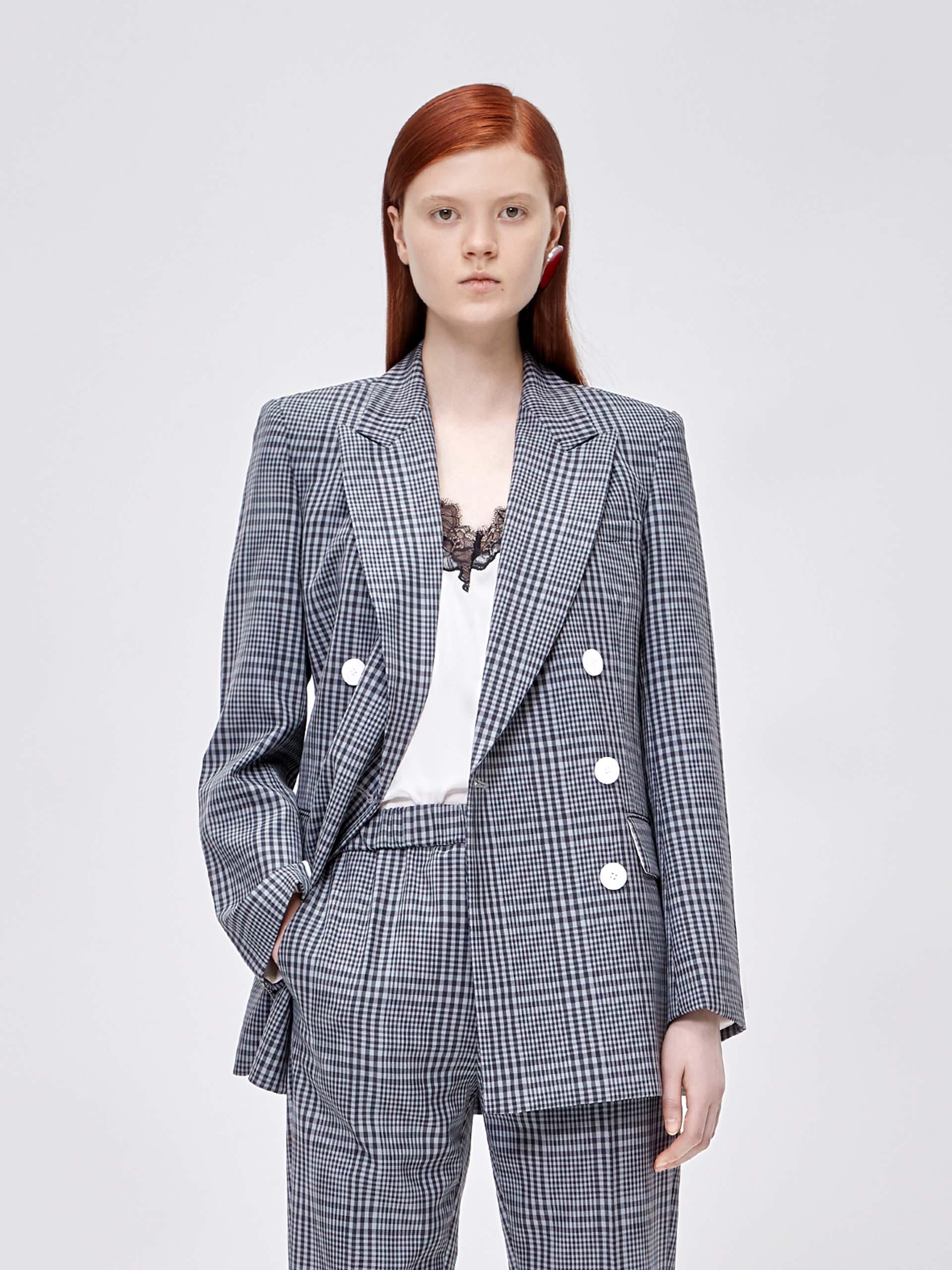 澳洲羊毛格纹西装外套