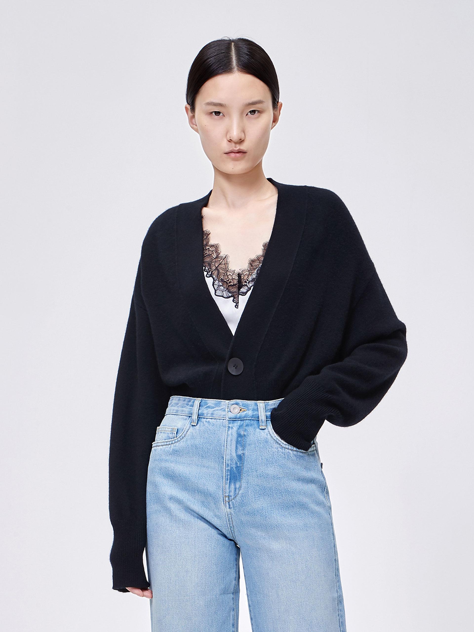 束腰短款毛织外套