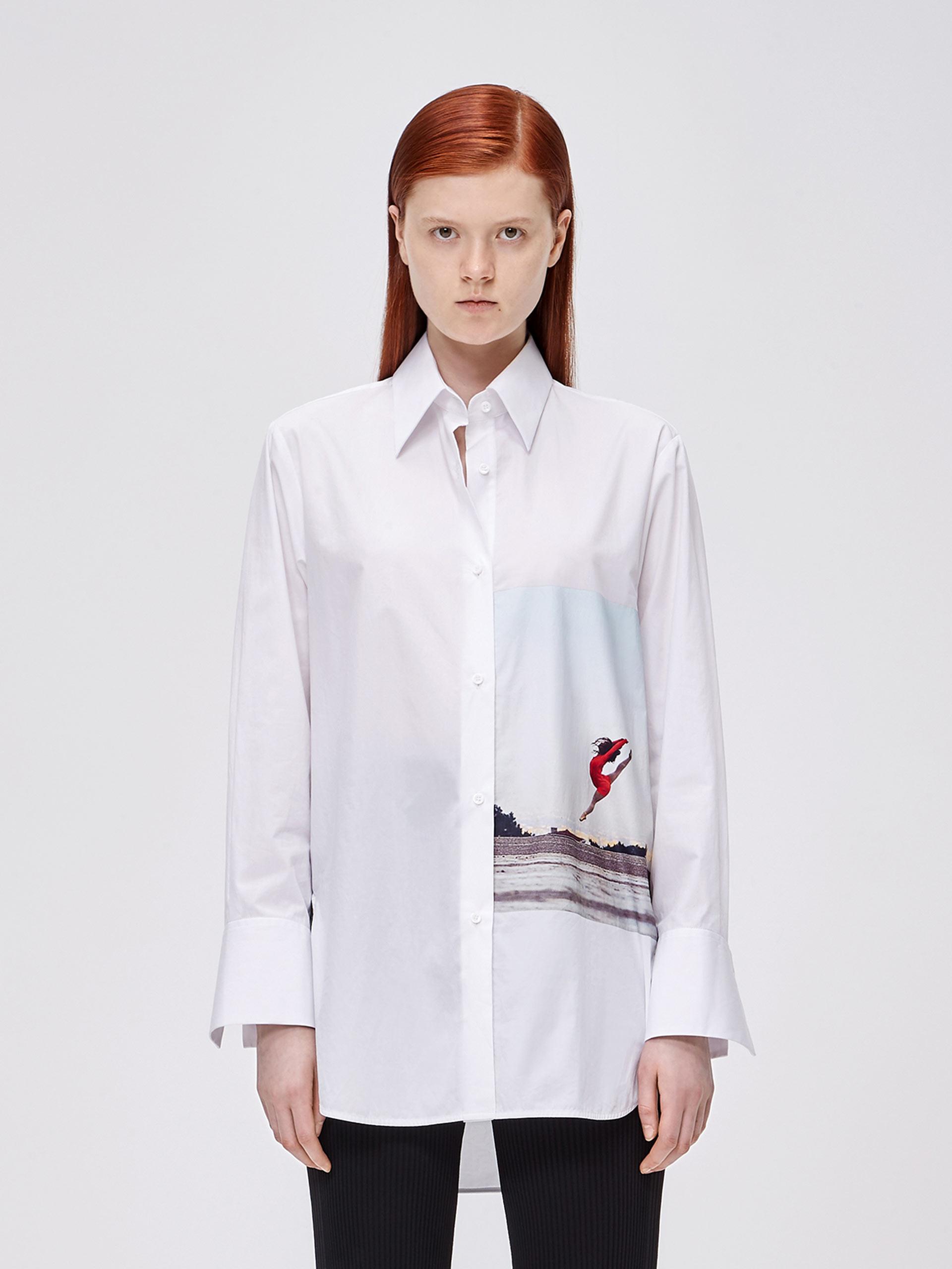 长袖印花棉质衬衫