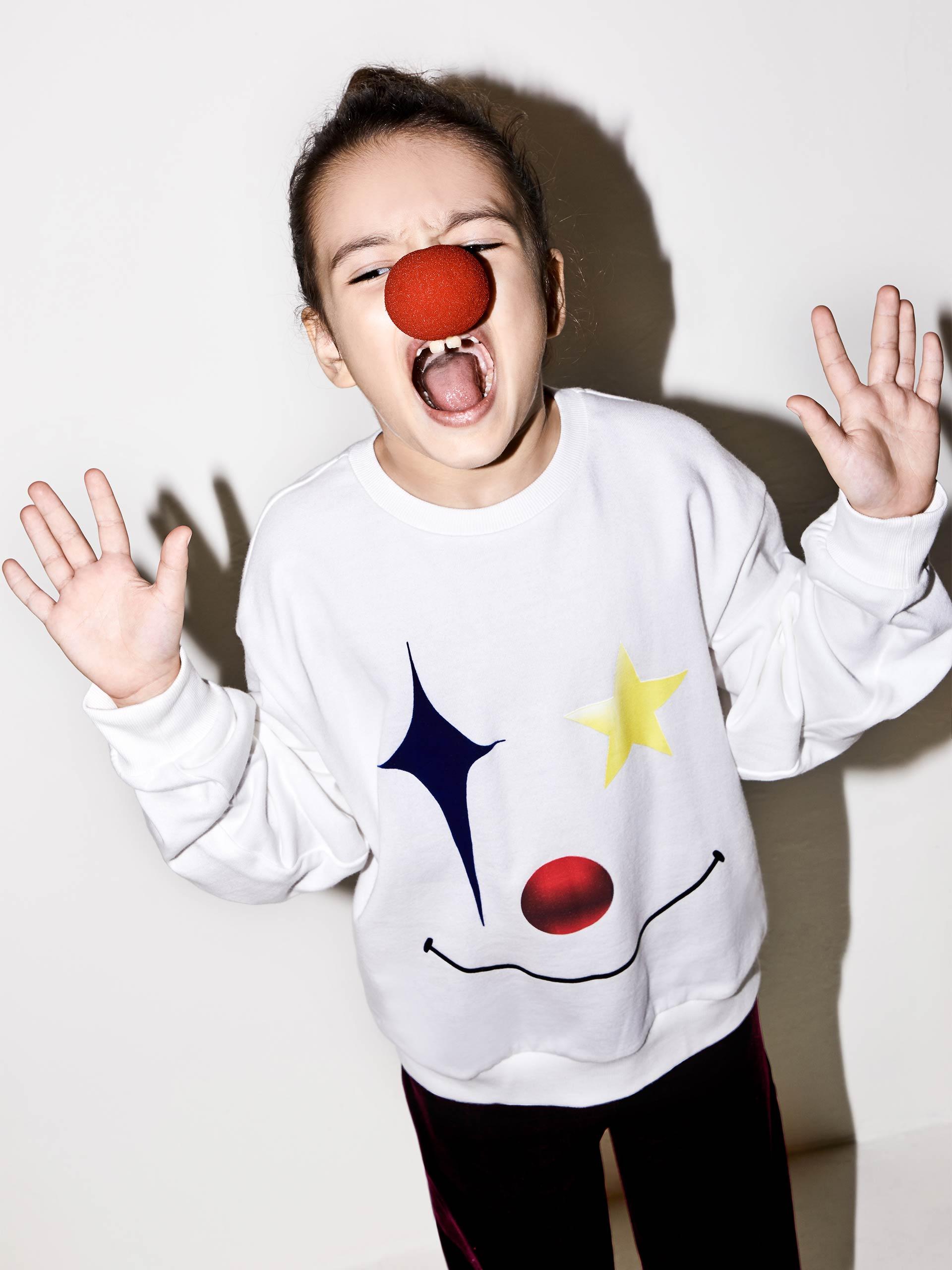 小丑图案长袖卫衣
