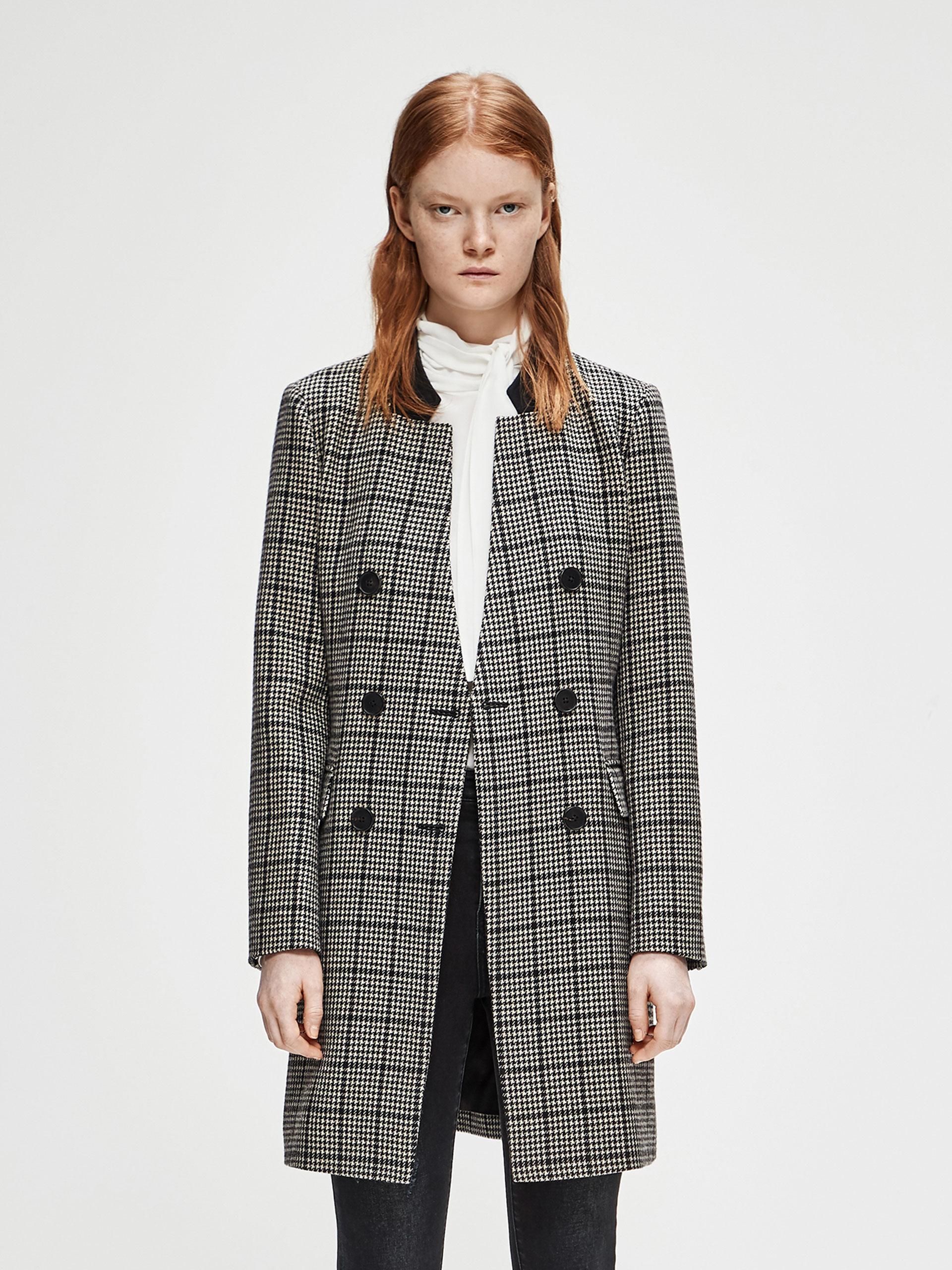 格纹直筒外套