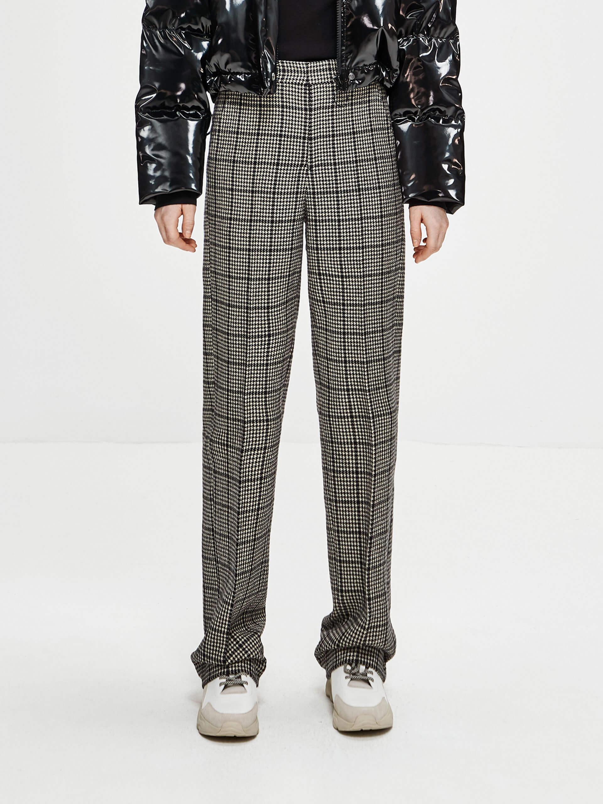 格纹直筒休闲裤
