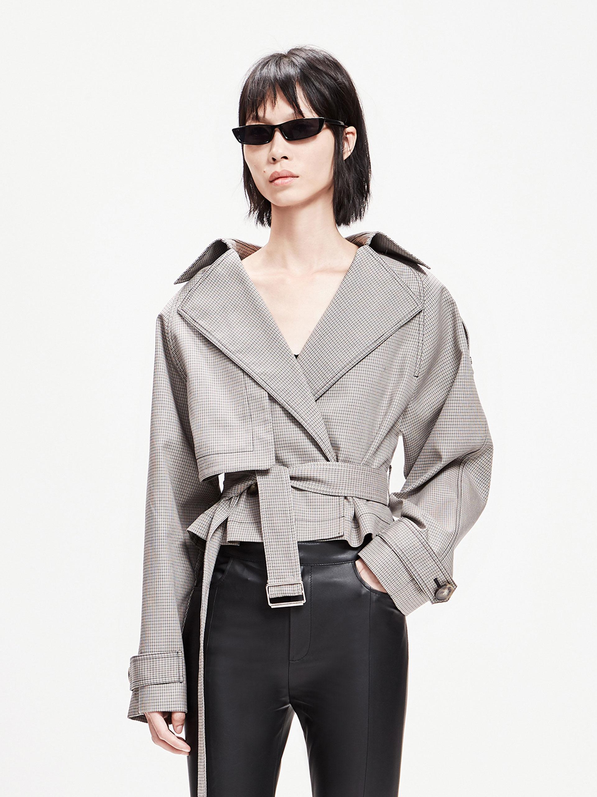 「春季新品」短款格纹外套