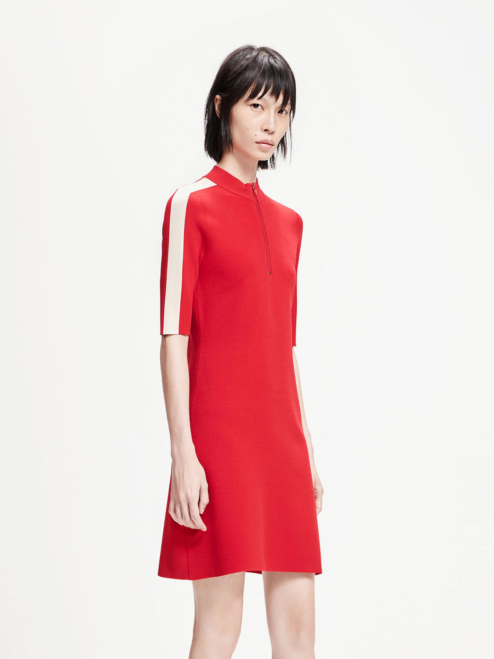 「春季新品」拉链立领连衣裙