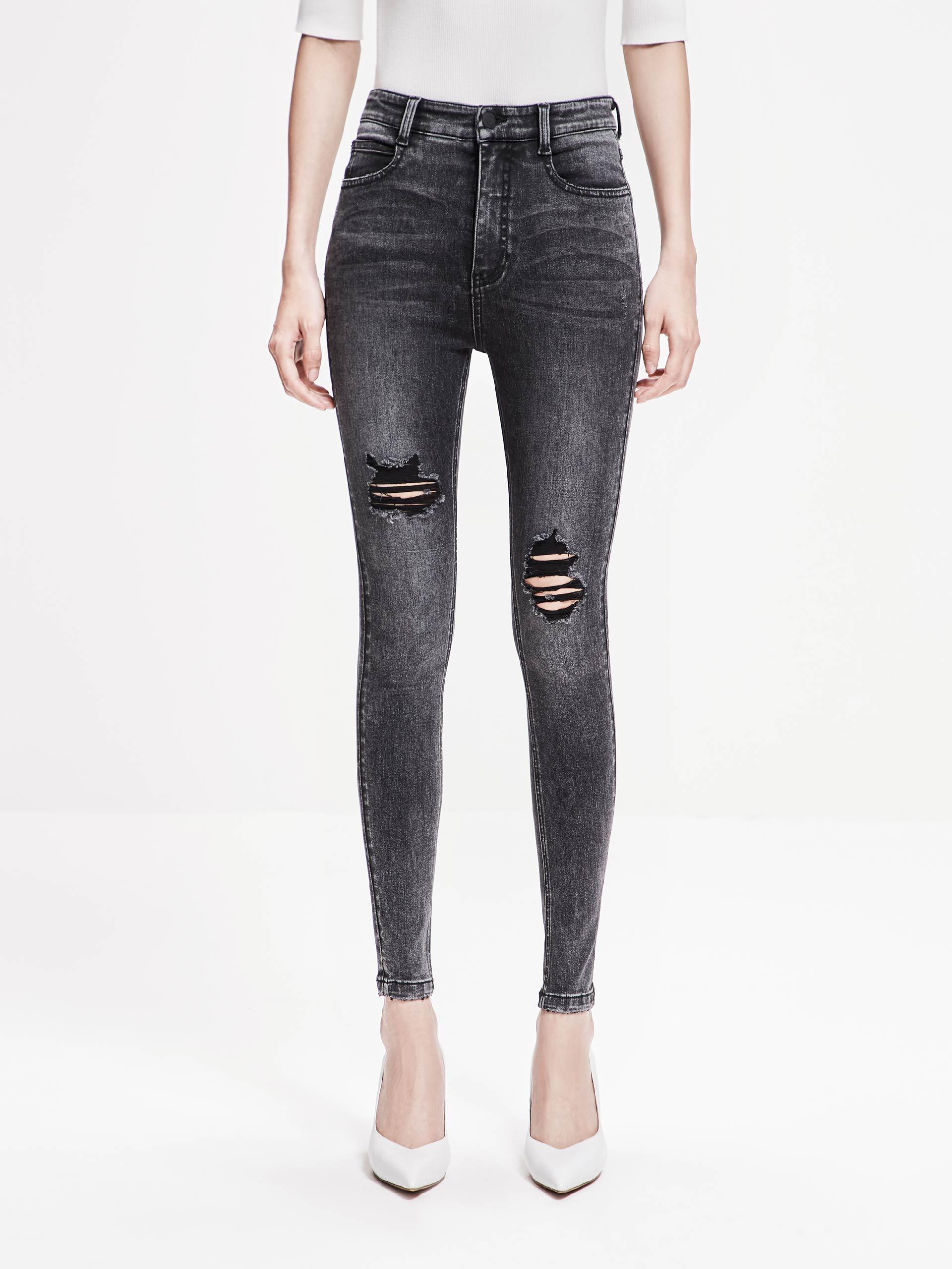 「春季新品」黑色破洞牛仔裤