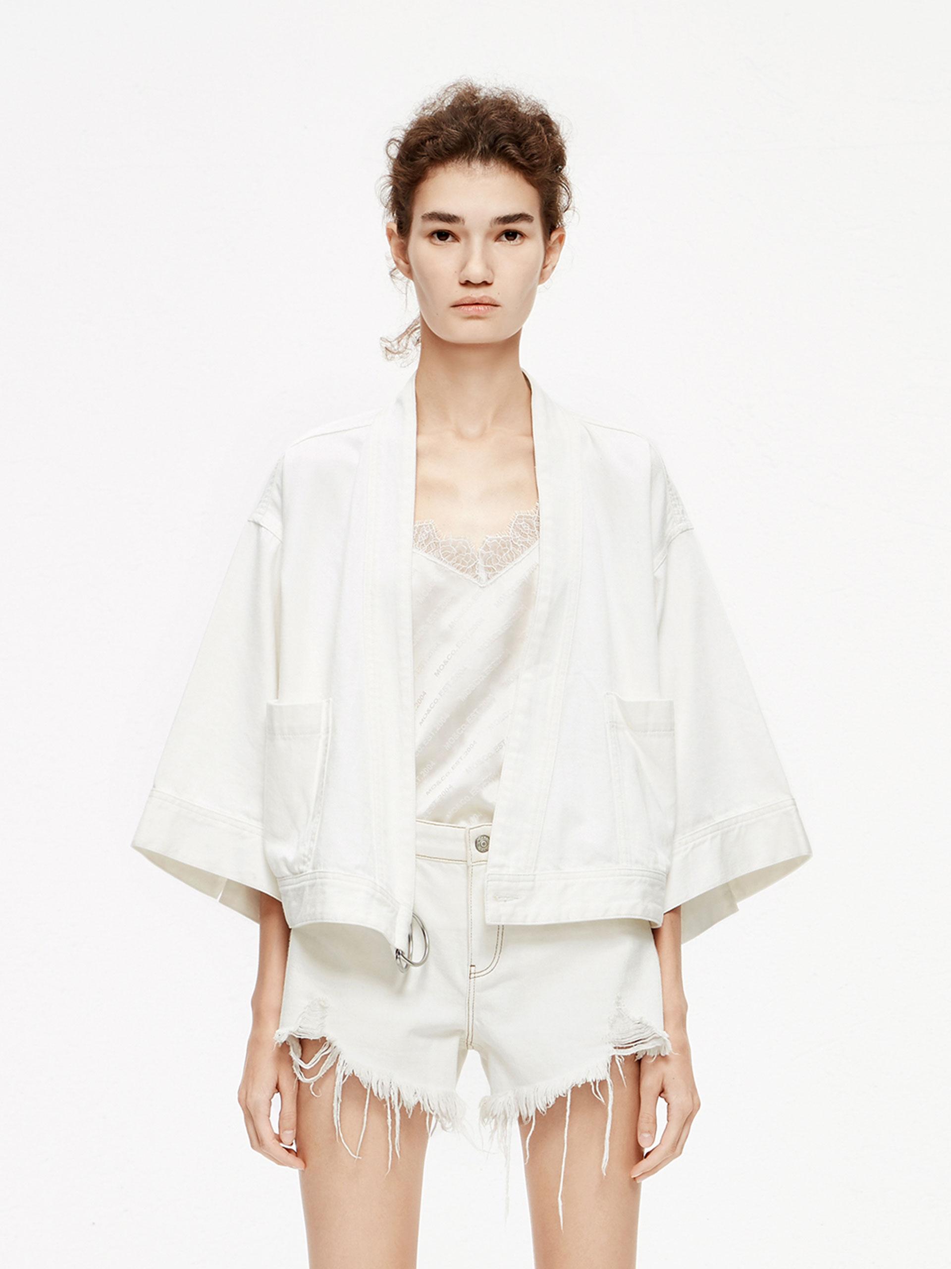 「夏季新品」纯白牛仔夹克
