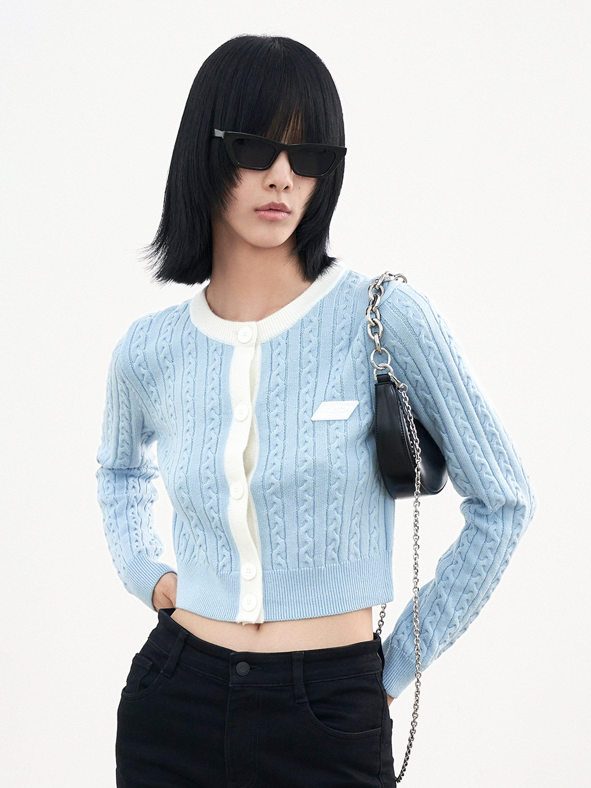 Contrast Cabled Knit Cardigan in Wool