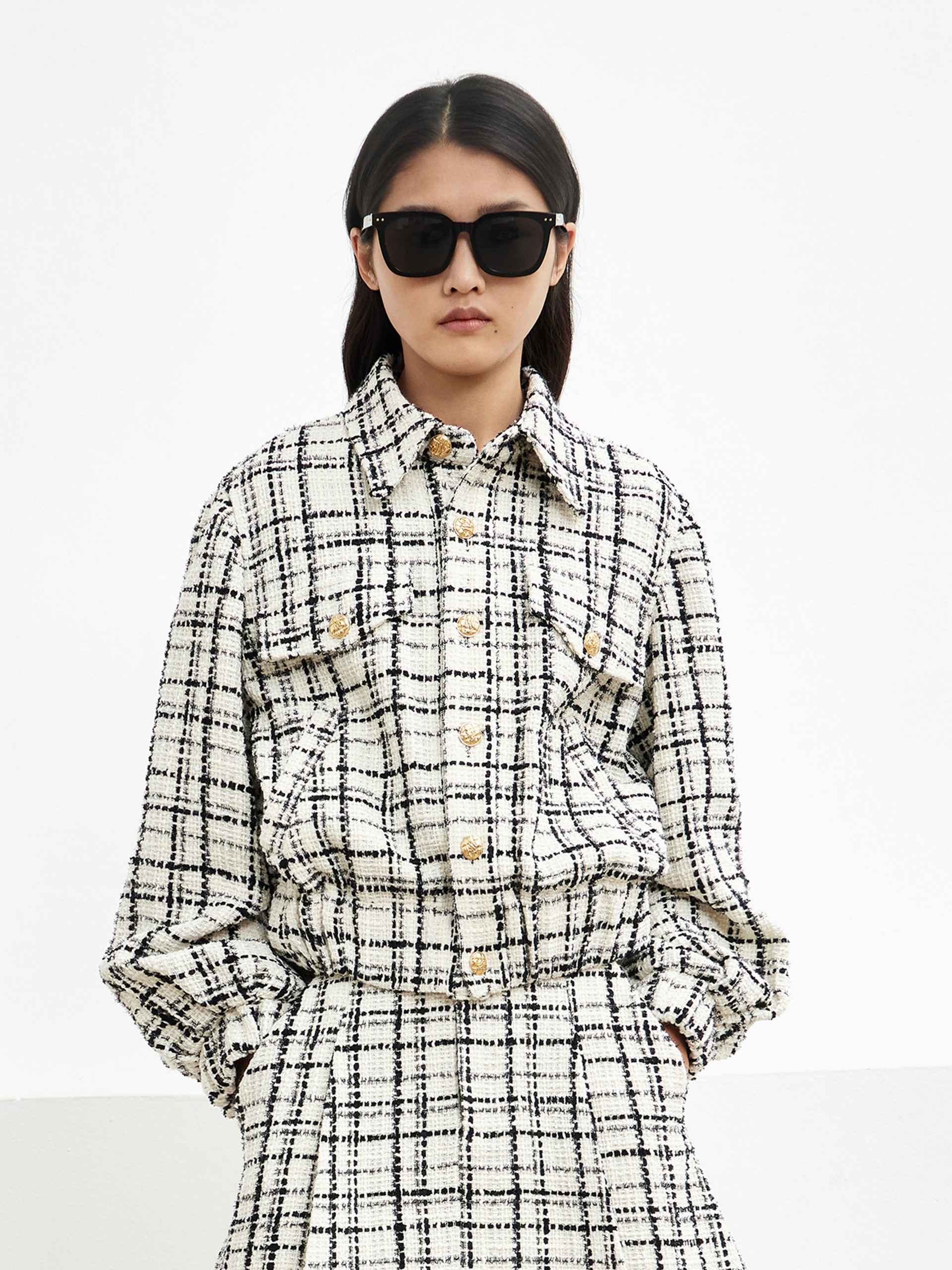 Tweed Checkered Button-Up Coat