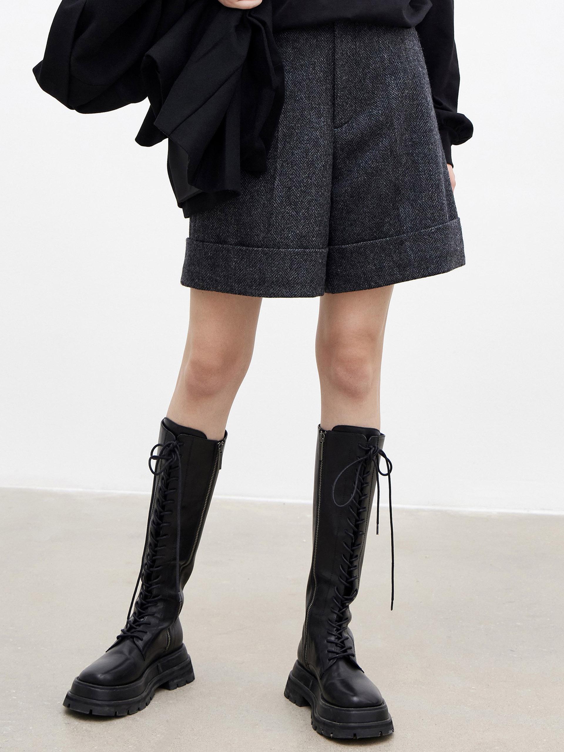 High Waisted Wool Shorts
